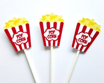 Movie Party Cupcake Toppers - Popcorn cupcake toppers - Movie Party Decorations