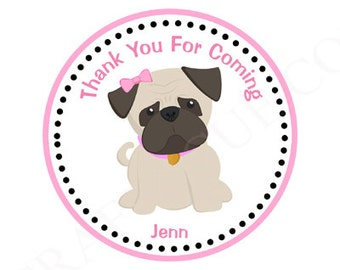 Girl Pug Birthday Party Favor Tags - Puppy Pug, Pug dog decorations