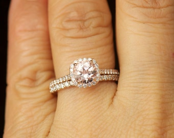 Kylie B & Petite Addison Set - Morganite and Diamond Halo Engagement Ring and Diamond Wedding Band in Rose Gold, Free Shipping