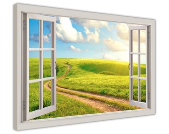 """Sunshine Over Green Field 3D Window Bay Effect Framed Canvas Art Wall Pictures Posters Artwork 18MM Wood Frame Size 40"""" X 30"""" (101CM X 76CM)"""