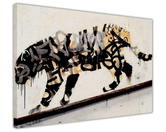 Banksy Tiger Spray Framed Canvas Wall Art Prints Home Decoration Pictures Graffiti Images Mural Poster