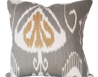 Kravet Grey Ikat Bansuri Throw Pillow Cover - Decorative Pillow - Both Sides - 12x16, 12x20, 14x18, 14x24, 16x16, 18x18, 20x20, 22x22