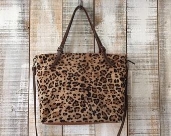 Leopard print purse, animal print handbag, brown leather purse, fur handbag, foal fur bag