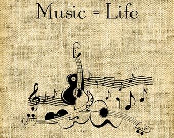 Digital Design//Music equals Life//Typewritten//Guitar//Musical Instruments//Music Art//Graphics//INSTANT DOWNLOAD