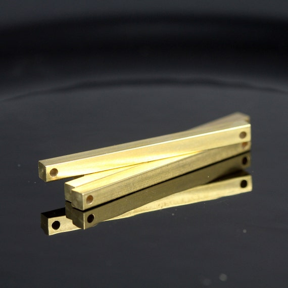 """square stamping bar 10 pcs connector 4 x 50 mm 0,16"""" x 2""""  raw brass  finding square rod (2 mm 5/64"""" 12 gauge hole ) sbl450-1091W-65"""