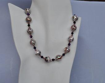 Purple Swirled Glass Beaded Necklace