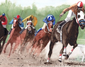 Here They Come, Horses, Racing, Thorobreds, Jockeys, 13x19 Fine art Giclee print made from original watercolor painting, unmatted