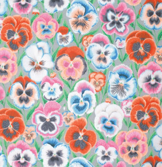 PANSIES GREY PJ076 by Philip Jacobs for Kaffe Fassett Collective Sold in 1/2 yd increments