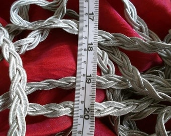 one metre only of plaited silver braid trim  UK seller