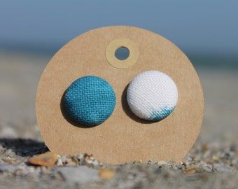 "3/4"" Blue and White Fabric Button Earrings"