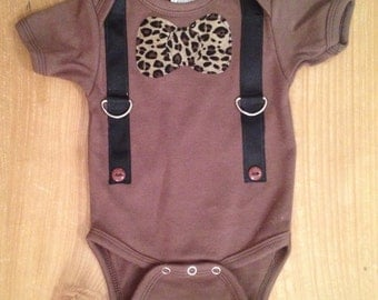Leopard Bow Tie and Suspender Baby Bodysuit or Shirt