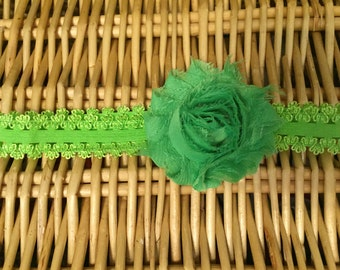 Lime Green Shabby Flower Headband