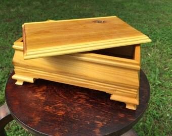 Handmade wooden pine box for storage/jewelry