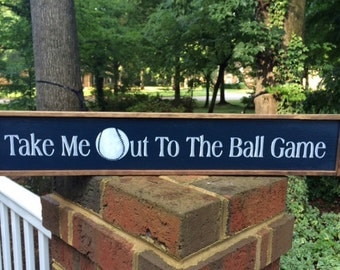 """Baseball Sign.  Yankee Colors Fan Sign.  Hand-Painted """"Take Me Out To The Ball Game"""" sign.  Great decor for Baseball Fans!"""