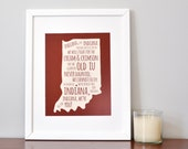 Indiana Inspired - University Fight Song - Typography Poster - Poster Print - Wall Art Decor - Holiday Gift