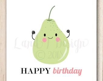 Percy Pear Birthday Card