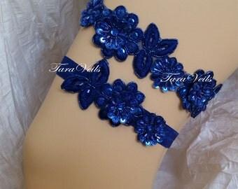 Wedding Garter Set Royal Blue Rhinestone Garter, wedding garters, bridal garter royal blue, Floral lace garter,Royal Blue Garter Set