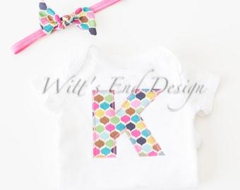 CUSTOM Baby Girl HEART or INITIAL  applique Onesie and Headband Set- Multicolor Diamonds