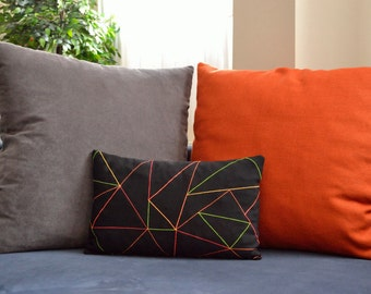 Black Pillow Cover, Neon Triangles Geometric Pattern, Black Decorative Throw Cushion Cover