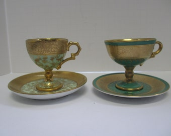 Vintage Hand Painted & Gilded Bone China Demitasse Cups and Saucers ( 2 ) .