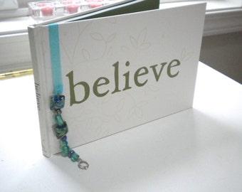 Brilliant Blue Beaded Ribbon Bookmark, Handmade, Original