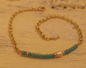 Chain bracelet, turquoise bead Crystal River