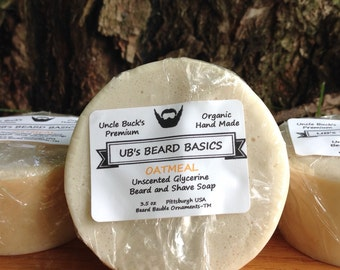 Oatmeal Unscented Glycerine Beard and Shave Soap UB's Beard Basics 3.5 oz.