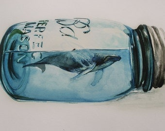 Whale in Mason Jar Watercolor Print