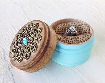Engagement ring box - wedding ring holder - ring box - turquoise