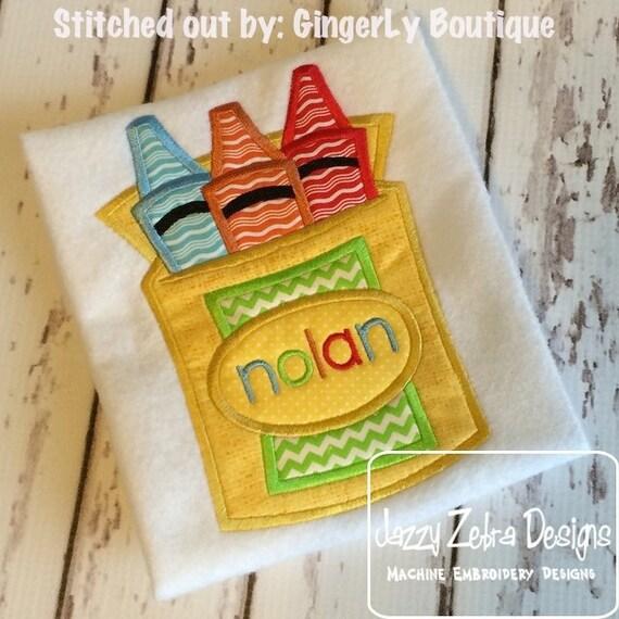 Crayons Applique embroidery Design - crayon applique design - teacher appliqué design - school appliqué design - crayons appliqué design