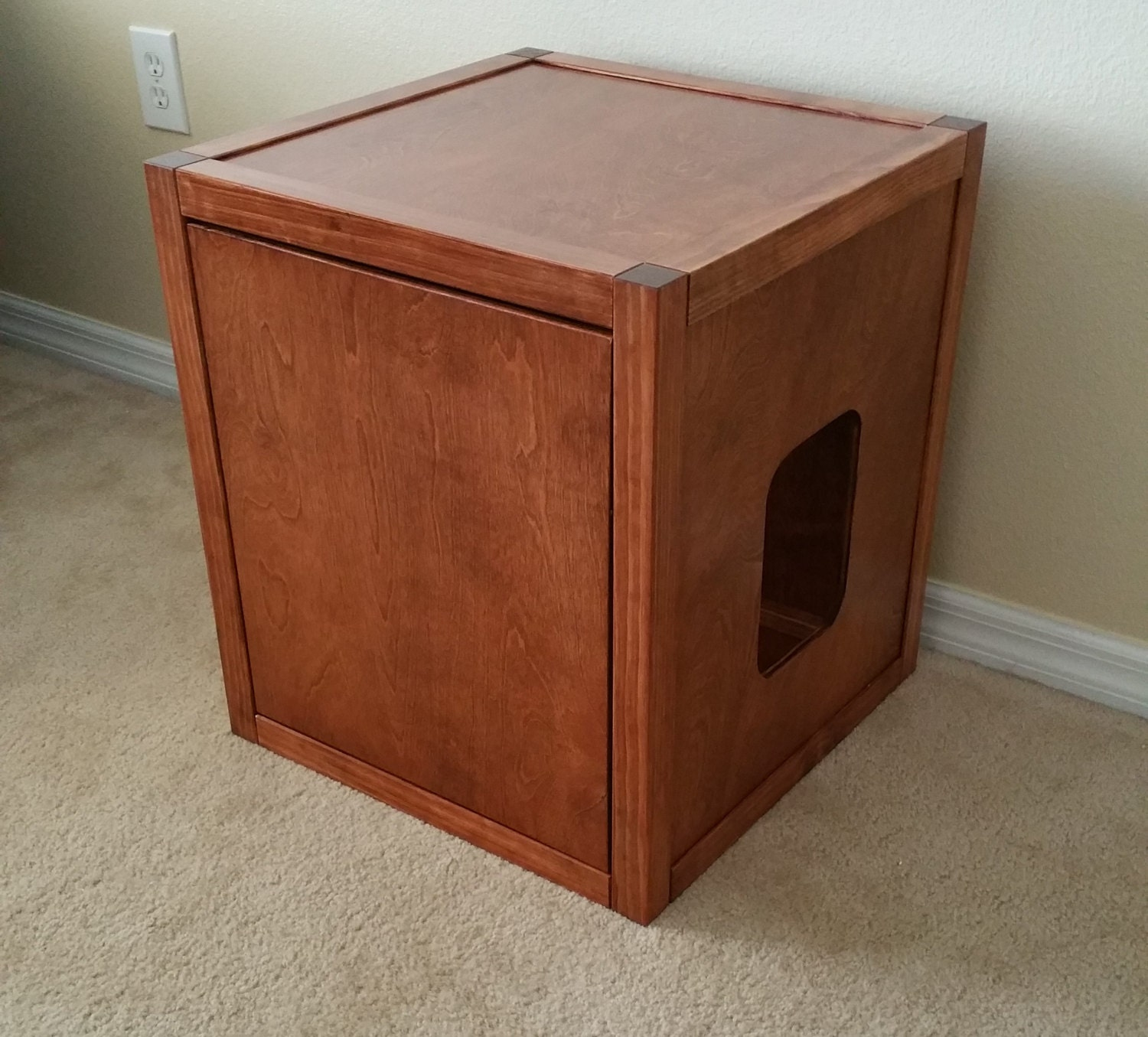 Cat Litter Box Cabinet Cube Wood Not Mdf By Fureverpetfurniture