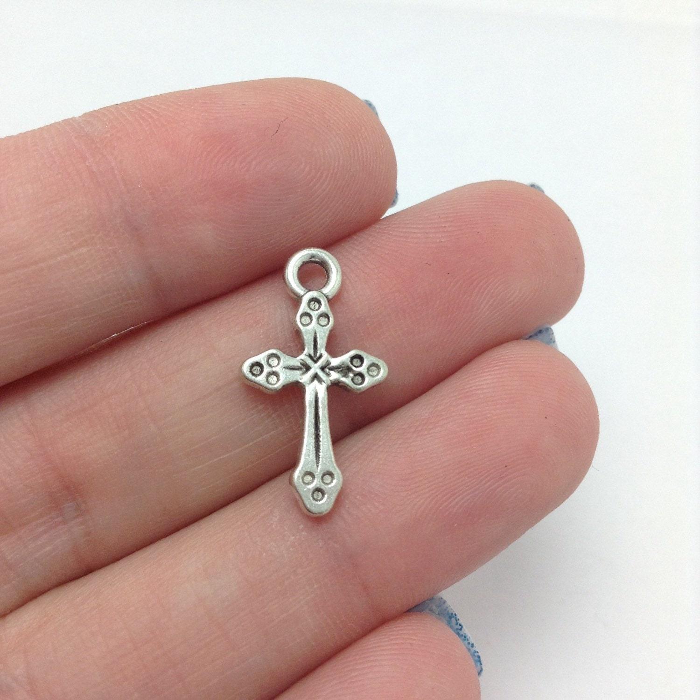 Christian Charm Bracelets: BULK 50 Cross Charms Silver Cross Charm Christian Charms