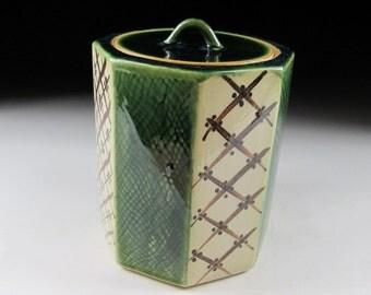 Vintage Oribe-ware Mizusashi
