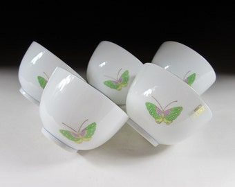 Set of Five Butterfly Teacups