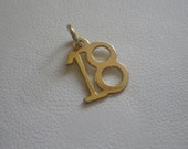 Reduced Sale Vintage 9ct Yellow Gold 18 18th Birthday Necklace Pendant Charm