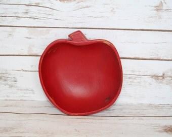 Shabby Chic Apple Bowl Upcycled Teak Bowl Storage Bowl Teacher Gift
