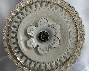 Vintage Glass Plate/Dishes Garden Flower...Heaven Is A Place On Earth