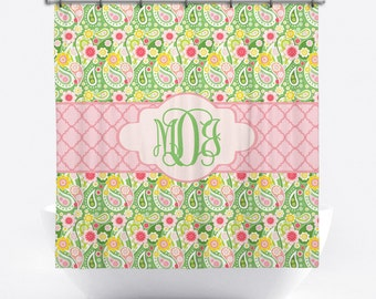Monogrammed Shower Curtain   Pink And Green Paisley Personalized Shower  Curtain   Custom Shower Curtain With