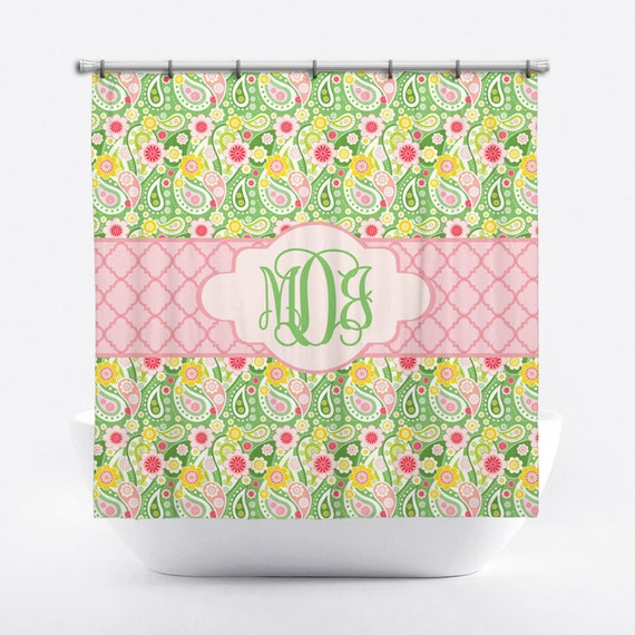 monogrammed shower curtain pink and green paisley. Black Bedroom Furniture Sets. Home Design Ideas
