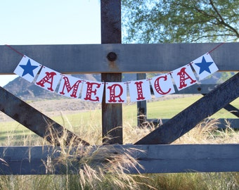 AMERICA BANNER / 4TH of July Banner /Summer / Patriotic / Military / Bbq / Decoration / Banners / Summertime / Fourth of July /