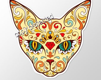 Cat Sugar Skull vinyl car  bumper sticker. Approximately 92 mm by 89 mm  ( 3.6 x 3.5 inches )