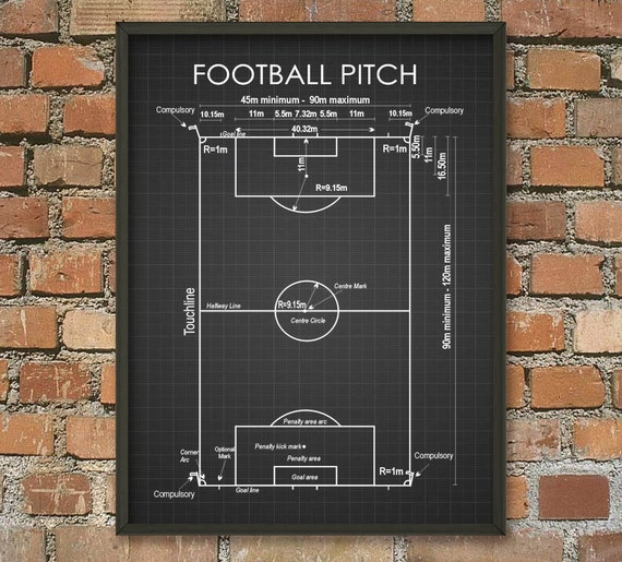 soccer pitch schematic diagram wall art poster soccer print. Black Bedroom Furniture Sets. Home Design Ideas