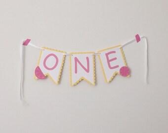 Pink Lemonade One High Chair Banner - High Chair Banner - 1st Birthday Banner - Pink Lemonade Party - Girl 1st Birthday