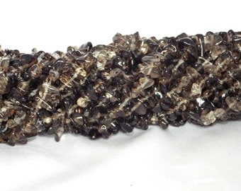 Smoky Quartz Chip Beads 5x8mm on String