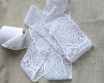 """Vintage cotton lace trim from USSR, White Lace , 2"""" ( 5 сm ) ,Cotton Lace ,By the Yard"""