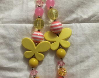 Double butterfly beaded necklace