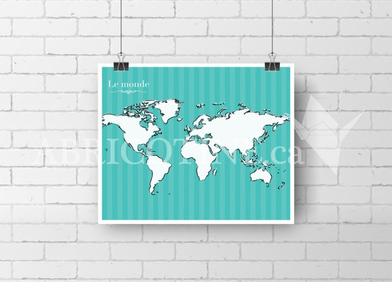 carte du monde affiche murale impression epson by abricotinemtl. Black Bedroom Furniture Sets. Home Design Ideas