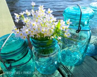 Mason Jars & White Flowers Print - Landscape Fine Art Photography