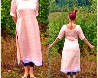 SALE Vintage Salmon Pink Overlaced Indian Style Tunic
