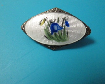 Blue Bell Flower Norway Sterling Enamel Pin/Brooch